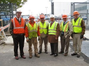 Danella Employees on a Job Site in New York, November 2007 - Pictured is John Bass, Senior VP; two laborers; Jim Danella, CEO; Peter Mazzari, VP; and Dennis Daly, President