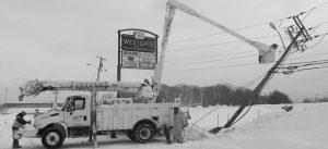 Men working in bucket truck