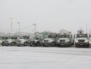 Danella trucks sitting in a parking lot ready for job