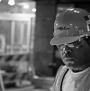 Worker wearing safety helmet