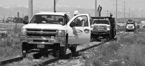 Men working on railroad project
