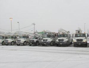 Danella trucks in parking lot ready for storm restoration