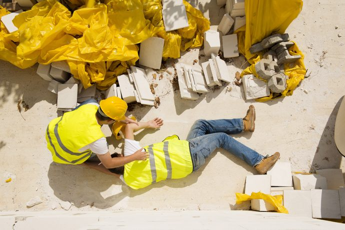 Falling Prevention - Fall Safety, Fallen Construction Worker