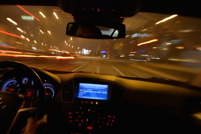 Car driving at night time