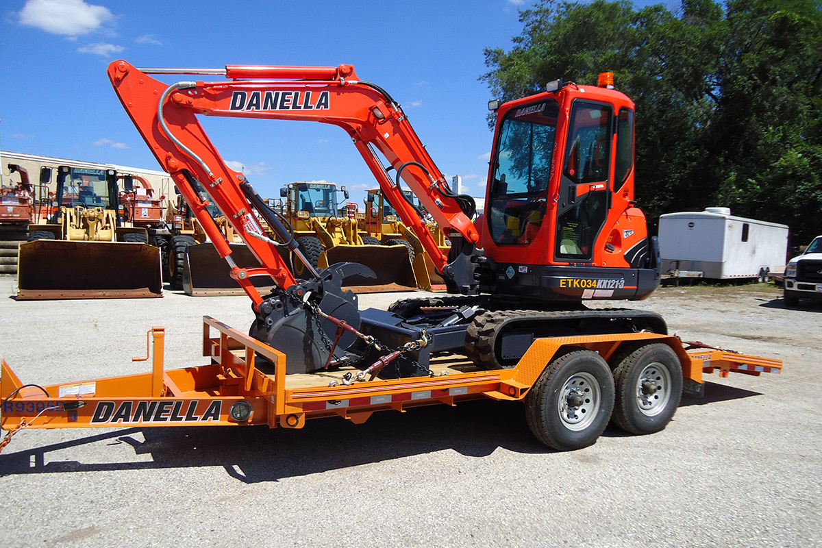 Mini Excavator Driver Side On Trailer
